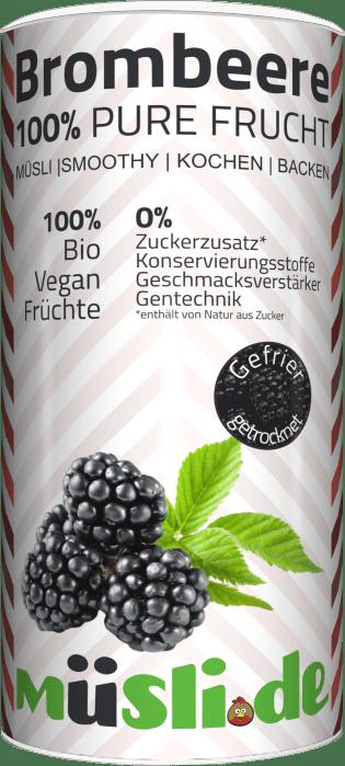 Bild der Verpackung (Dose) des Bio Müslis Gefriergetrocknete Brombeeren von müsli.de