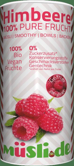 Bild der Verpackung (Dose) des Bio Müslis Gefriergetrocknete Himbeeren von müsli.de