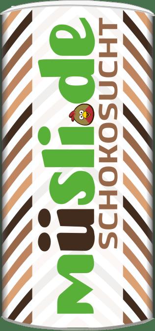 Bild der Verpackung (Dose) des Bio Müslis Schokosucht Basis von müsli.de