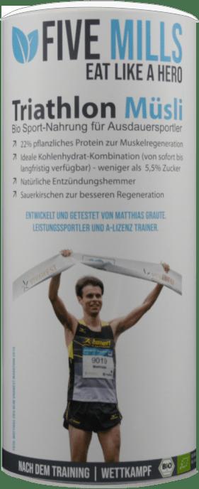 Bild der Verpackung (Dose) des Bio Müslis Five Mills Triathlon | Nach dem Training von müsli.de