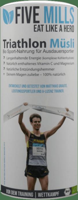 Bild der Verpackung (Dose) des Bio Müslis Five Mills Triathlon | Vor dem Training von müsli.de