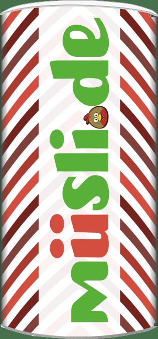 Bild der Verpackung (Dose) des Bio Müslis Rote Früchte & Pistazien von müsli.de