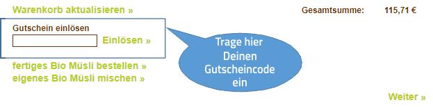 Foto vom Feld Gutscheincode im Warenkorb
