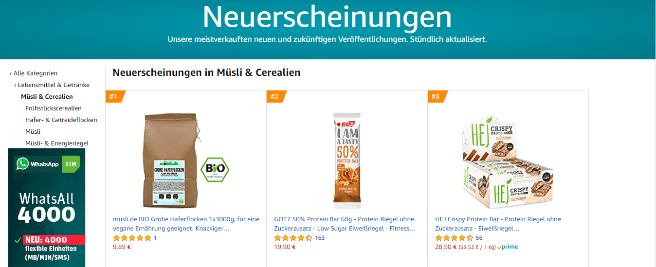 müsli.de | Platz 1 bei Amazon